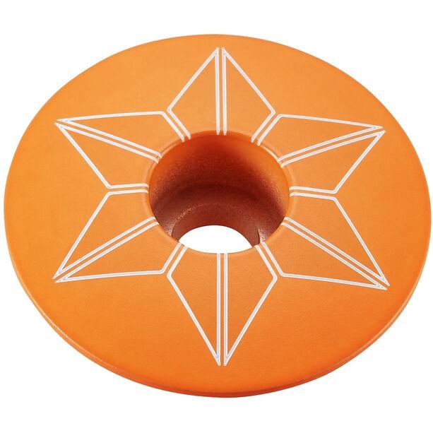 Supacaz Star Capz Ahead-Kappe pulverbeschichtet neon orange