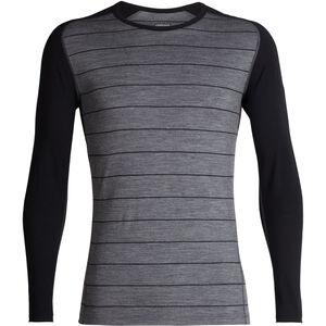 Icebreaker 200 Oasis Deluxe Raglan LS Crew Shirt gritstone heather-black-stripe