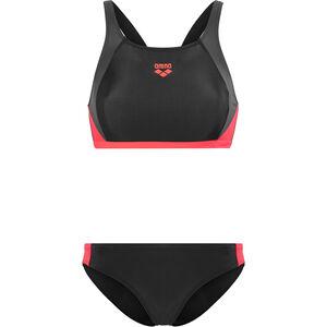 arena Ren Two-Pieces Swimsuit Women black-deep grey-fluo red