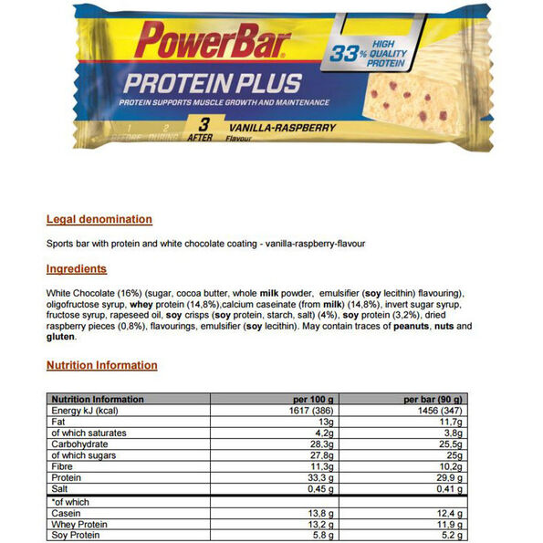 PowerBar ProteinPlus 33% Bar Box 10x90g Vanilla-Raspberry