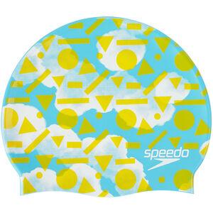 speedo Slogan Cap Juniors Light Adriatic/Citron/White
