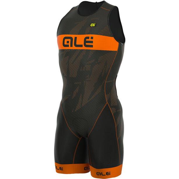 Alé Cycling Triathlon Olympic Record Tri Body Back Zipper Herren black-fluo orange