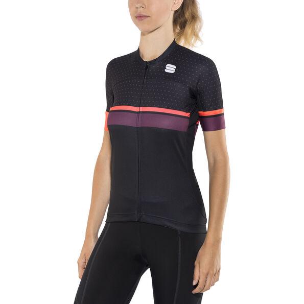 Sportful Diva Jersey black/coral fluo/bordeaux