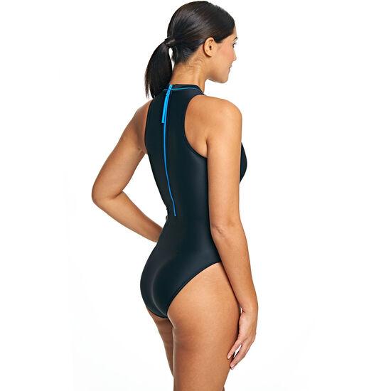 Zoggs Cable Zipped Hi Neck Swimsuit Women blau bei fahrrad.de Online