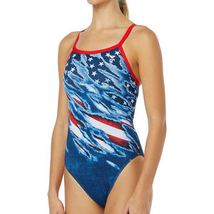 TYR Live Free Diamondfit Swimsuit Women Red/White/Blue