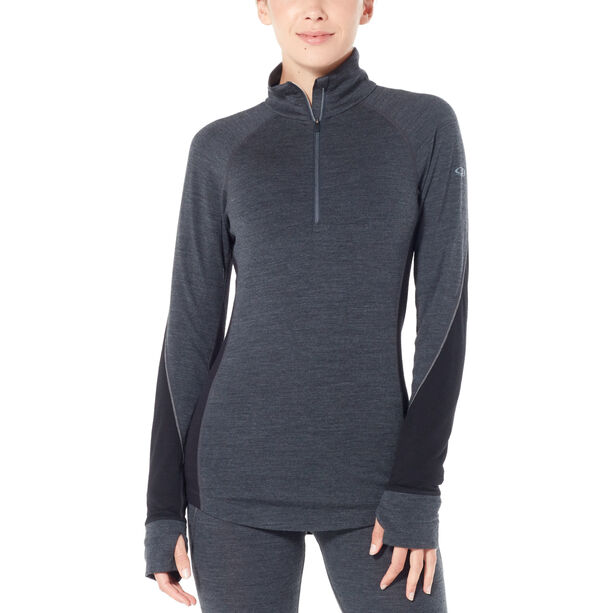Icebreaker 260 Zone Langarm Half Zip Shirt Damen jet heather/black