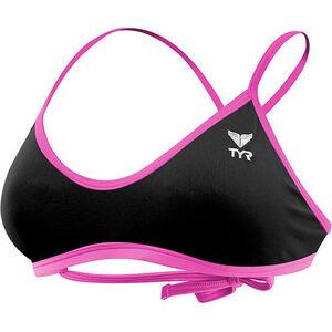 TYR Solid Crosscut Tieback Bikini Top Women black/pink