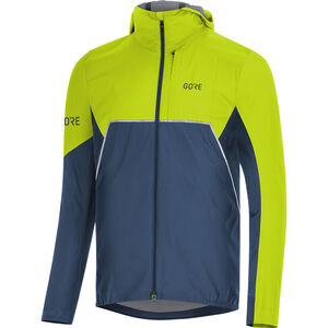 GORE WEAR R7 Partial Gore-Tex Infinium Hooded Jacket Herren deep water blue/citrus green deep water blue/citrus green