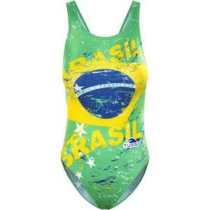 Turbo Brasil Wide Strap Swimsuit Women green/yellow