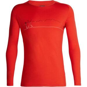 Icebreaker 200 Oasis Deluxe Single Line Ski Raglan LS Crew Shirt Men chili red