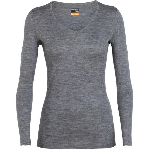Icebreaker 200 Oasis LS V-Ausschnitt Shirt Damen gritstone heather