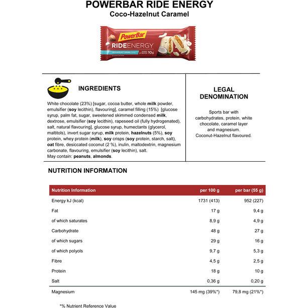 PowerBar RideEnergy Bar Box 18x55g Coco-Hazelnut Caramel