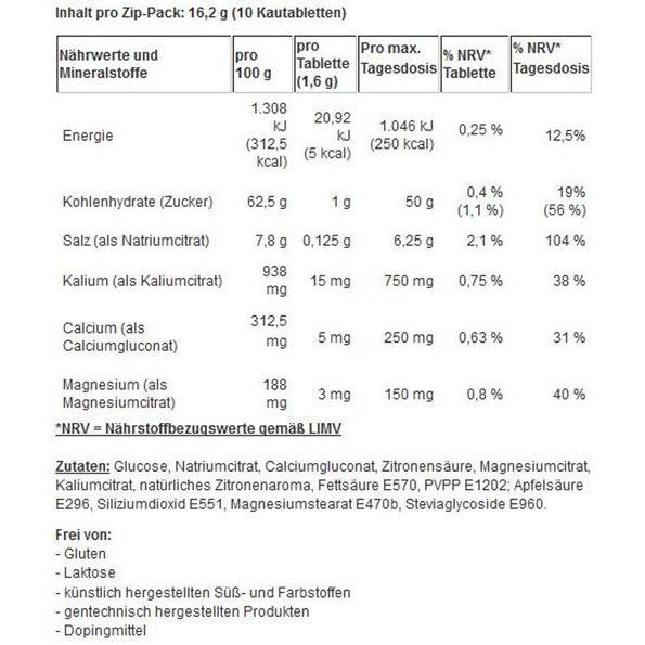SaltStick Fastchews mit Salz und Mineralstoffen Lemon 10 Kautabletten