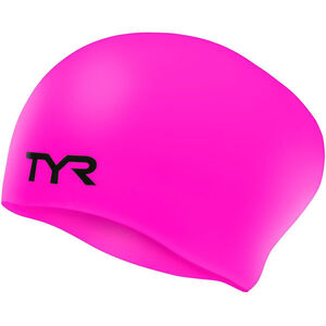 TYR Wrinkle-Free Silicone Long Hair Swimming Cap Kinder fluo pink fluo pink