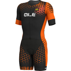 Alé Cycling Rush Tri SS Unitard Long Herren black-flou orange black-flou orange