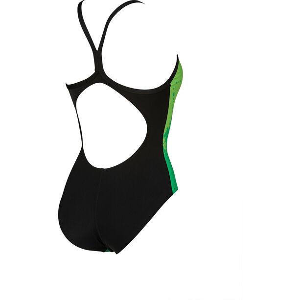 arena Spraypaint Light Drop Back One Piece Badeanzug Damen green/black