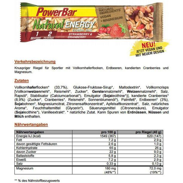 PowerBar Natural Energy Cereal Bar Box 24x40g Strawberry-Cranberry