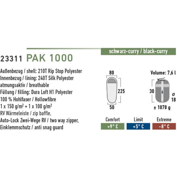 High Peak Pak 1000 Schlafsack links schwarz/curry