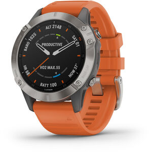 Garmin Fenix 6 Sapphire Titanium Multisport GPS Smartwatch grey/silver/orange Wristband grey/silver/orange Wristband