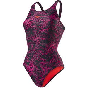 speedo Boom Allover Muscleback Swimsuit Damen black/electric pink black/electric pink