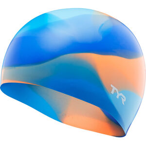 TYR Tie Dye Silicone Swim Cap Kinder blue/orange blue/orange