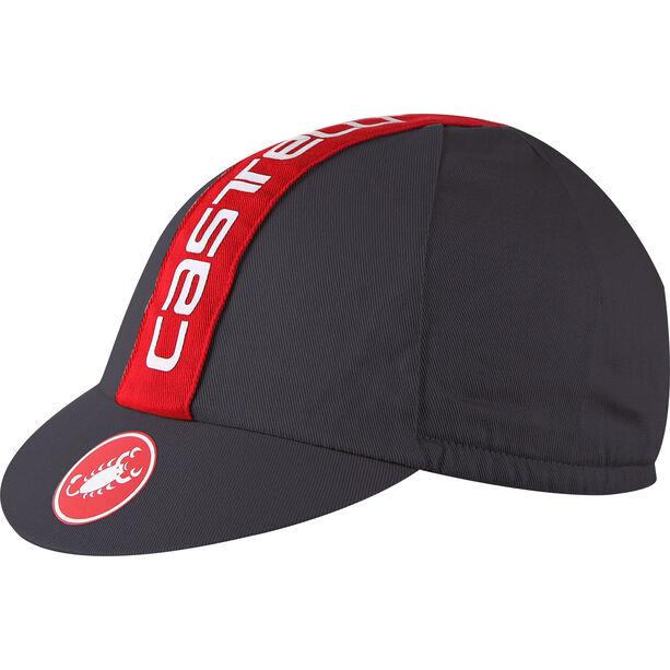 Castelli Retro 3 Cap anthracite/ruby red
