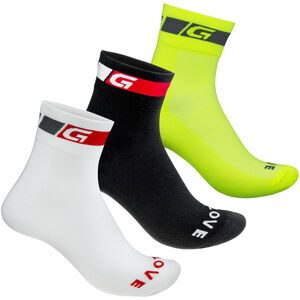 GripGrab Tricolore Regular Cut Socks 3-Pack black/white/fluo yellow