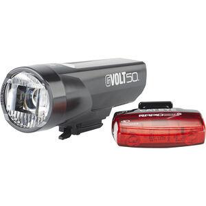 CatEye GVolt 50 HL-EL550GRC + Rapid Micro G Hl-EL620G Set schwarz/rot schwarz/rot