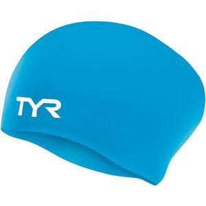 TYR Wrinkle-Free Long Hair Swimming Cap blue blue