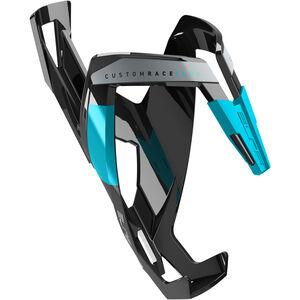 Elite Custom Race Plus Flaschenhalter schwarz glänzend/hellblaue Grafik bei fahrrad.de Online