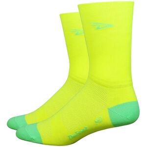 "DeFeet Aireator 5"" Double Cuff Socken d-logo/hi-vis yellow w/hi-vis green d-logo/hi-vis yellow w/hi-vis green"