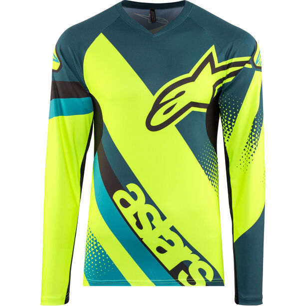 Alpinestars Racer Longsleeve Jersey Herren petrol/yellow fluo