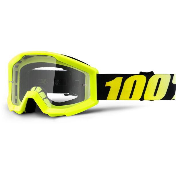 100% Strata Anti Fog Clear Goggles Kinder neon yellow