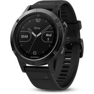 Garmin fenix 5 GPS Multisportuhr mit schwarzem Armband saphir saphir