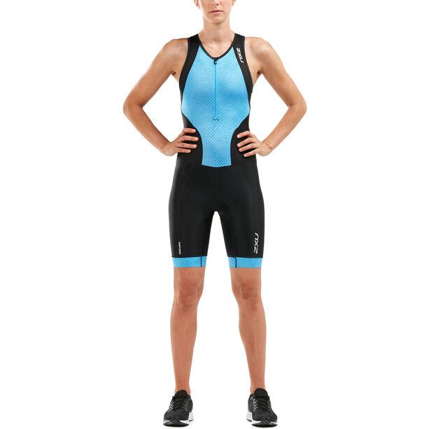 2XU Perform Front Zip Trisuit Damen black/aquarius mesh print