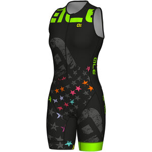 Alé Cycling Long Triathlon Stelle SS Skinsuit Damen black-fluo green black-fluo green