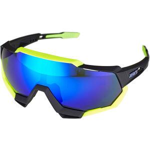 100% Speedtrap Glasses polished black/matte neon yellow | mirror polished black/matte neon yellow | mirror