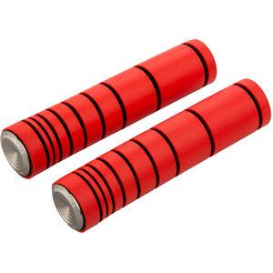 absoluteBLACK Dual Density MTB Silikon Griffe mit Alu Lenkerstopfen fluo red fluo red