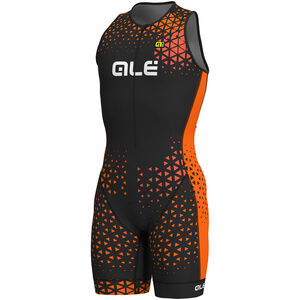 Alé Cycling Rush Tri Sleeveless Unitard Long Herren black-flou orange black-flou orange