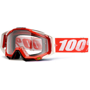 100% Racecraft Anti Fog Clear Goggles fire red fire red