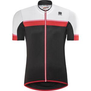 Sportful Pista SS Jersey Herren black/white/red-coral fluo