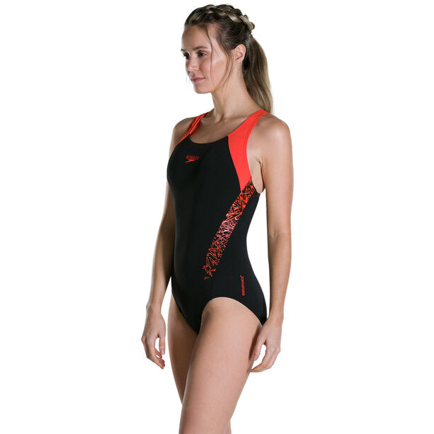 speedo Boom Splice Racerback Swimsuit Damen black/hot orange