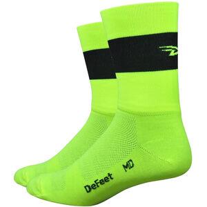 "DeFeet Aireator 5"" Double Cuff Socken team defeet hi-vis yellow w/black stripe team defeet hi-vis yellow w/black stripe"