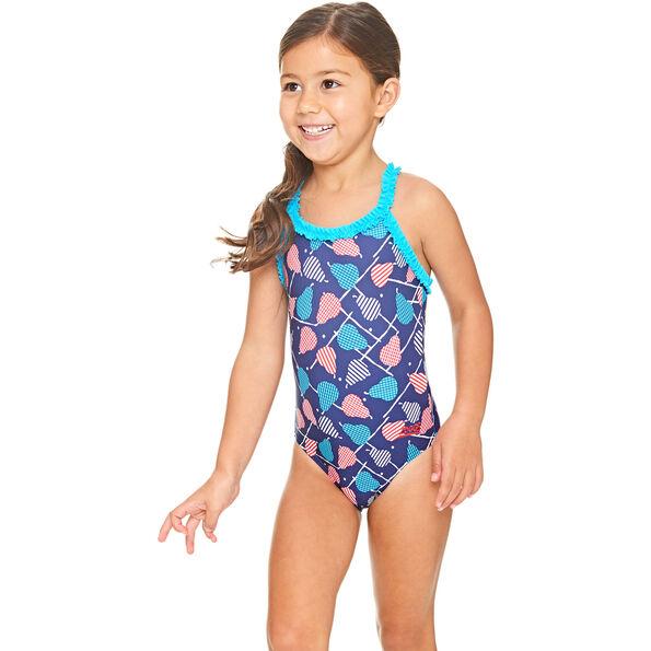 Zoggs Pears Ruffle X Back Swimsuit Girls