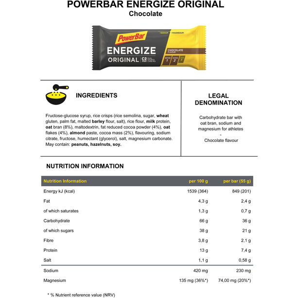 PowerBar Energize Original Riegel Box 25x55g Chocolate