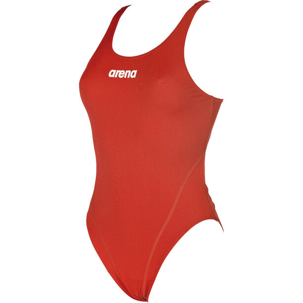 arena Solid Swim Tech High One Piece Swimsuit Damen red-white