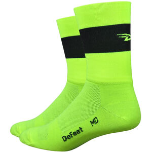 "DeFeet Aireator 5"" Doppel-Bund Socken team defeet hi-vis yellow w/black stripe team defeet hi-vis yellow w/black stripe"