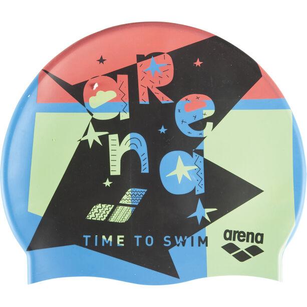 arena Print Cap Kinder swim time blue