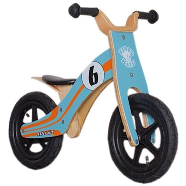 "Rebel Kidz Wood Air Laufrad 12"" Kinder le mans/blau-orange"