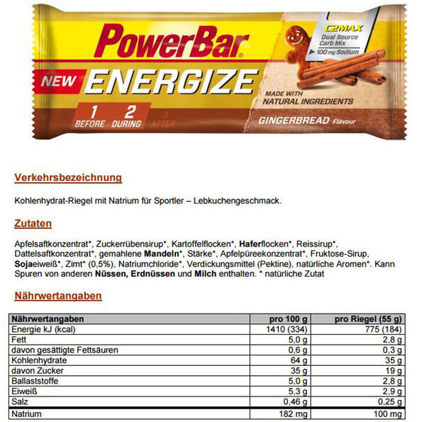 PowerBar New Energize Riegel Box Gingerbread 25 x 55g